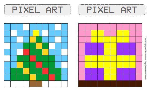 Modèles Pixel Art Sur Le Thème De Noël Cp Ce1 Ce2 Cm1 Cm2