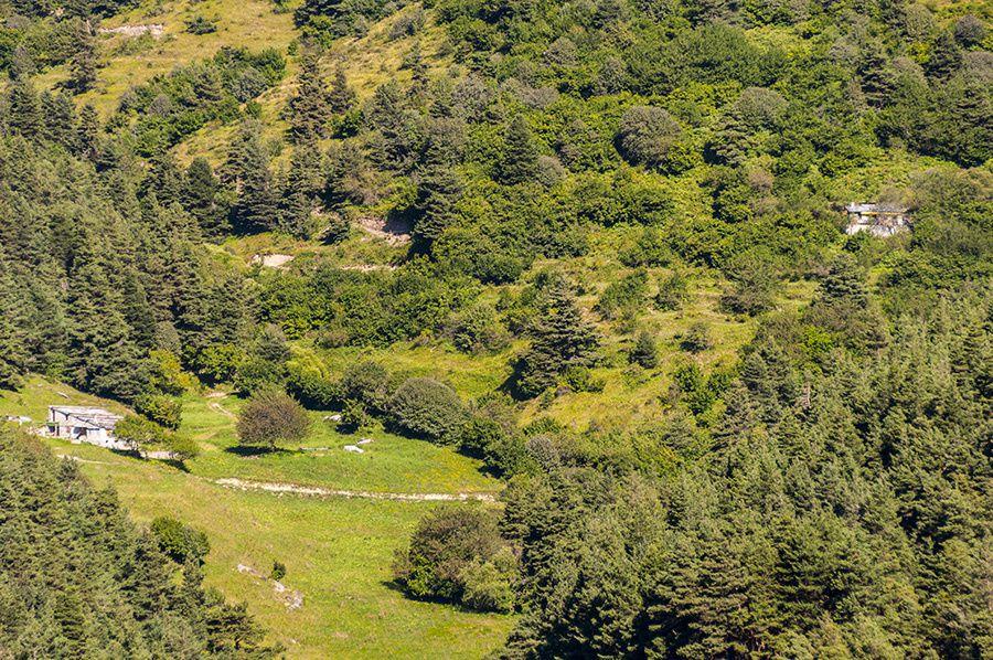 Martine découvre le hameau du Réfréi depuis le hameau de Pia en Roya