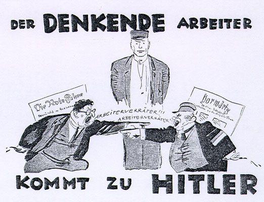 « Le travailleur qui réflechit se tourne vers Hitler », caricature de Mjölnir