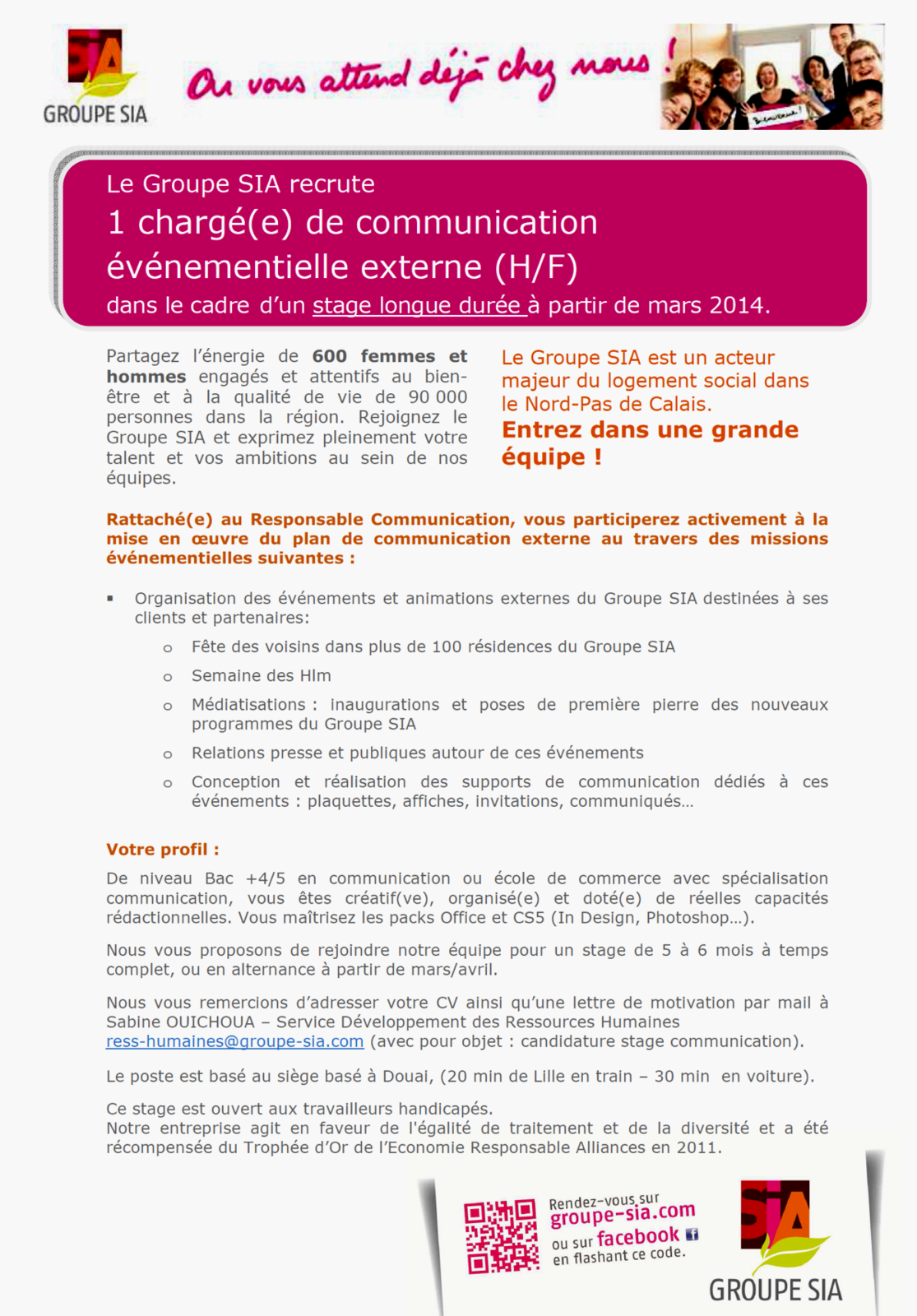 OFFRE DE STAGE - CHARGE(E) DE COMMUNICATION EVENEMENTIELLE EXTERNE