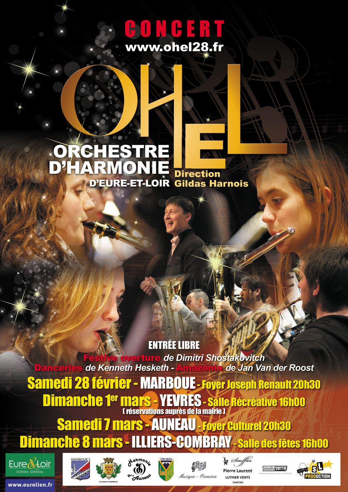 L'Orchestre d'Harmonie d'Eure et Loir à Marboué le 28 février