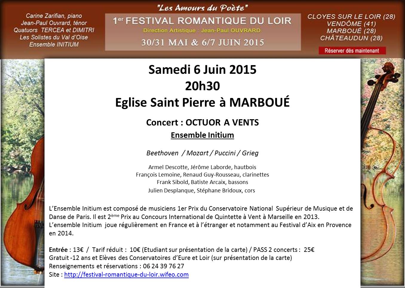 Samedi 6 Juin 2015 20h30 Eglise Saint Pierre à MARBOUÉ  Concert: OCTUOR A VENTS