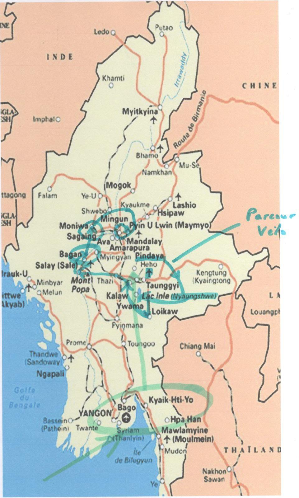 Proposition de suivi de notre voyage Vélo FFCT en Birmanie