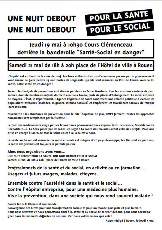 Appel à manifester derrière la banderole &quot&#x3B;Santé-Social en danger&quot&#x3B; jeudi 17 mai 10h30 Cours Clémenceau- et Nuit Debout Santé-Social samedi 21 mai place de l'hôtel de ville à Rouen de 18h à 20h