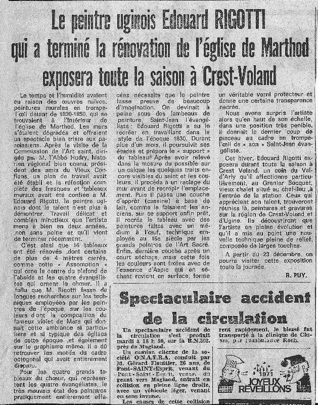 Images  extrait de Cevins en Tarentaise Autrefois auteur Marc Pointet et extrait Dauphiné libéré 23 decembre 1971