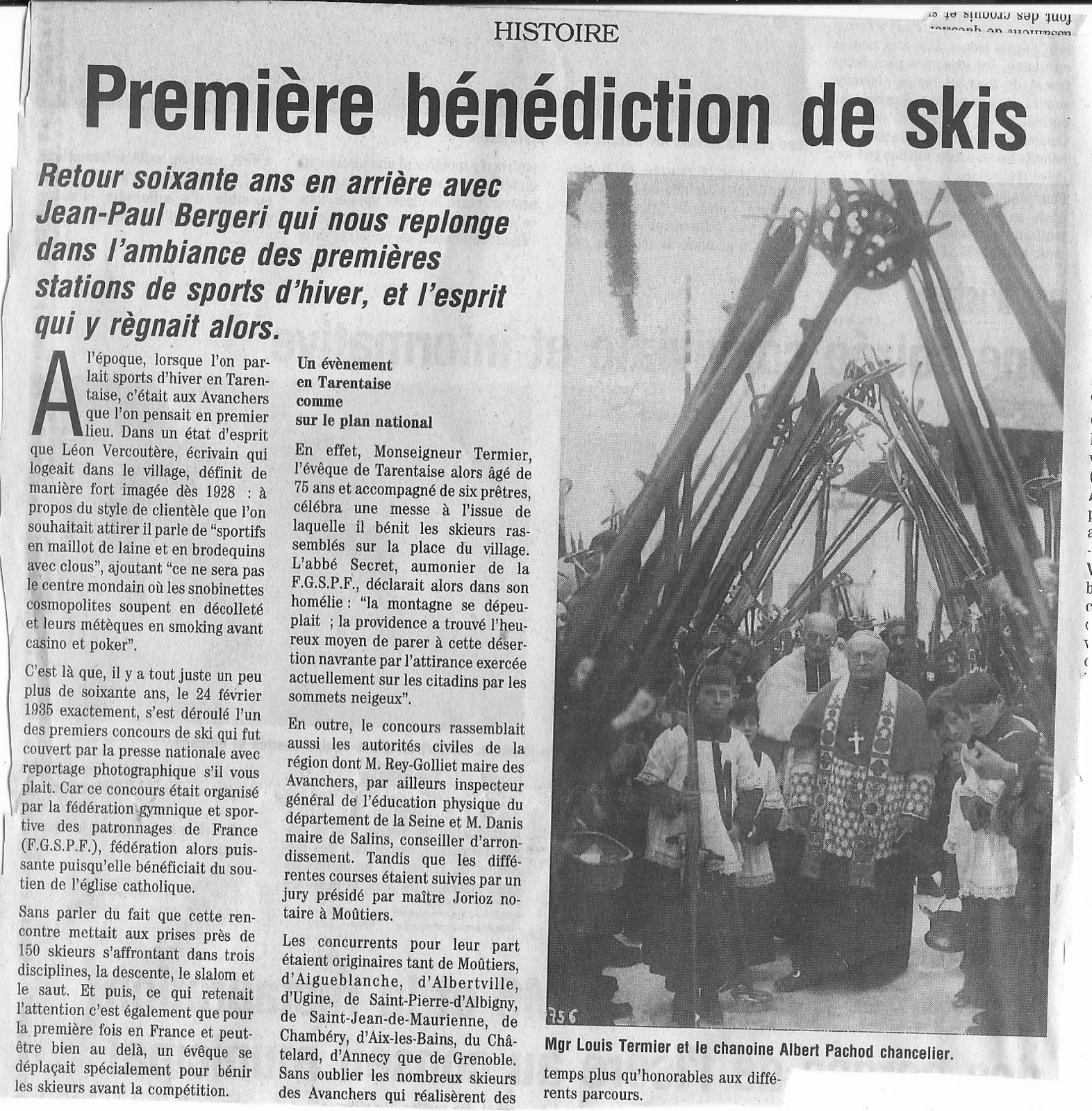 Benediction de skis