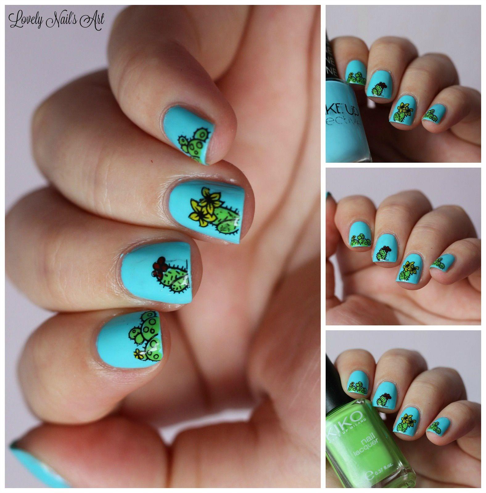 Nail art stamping cactus