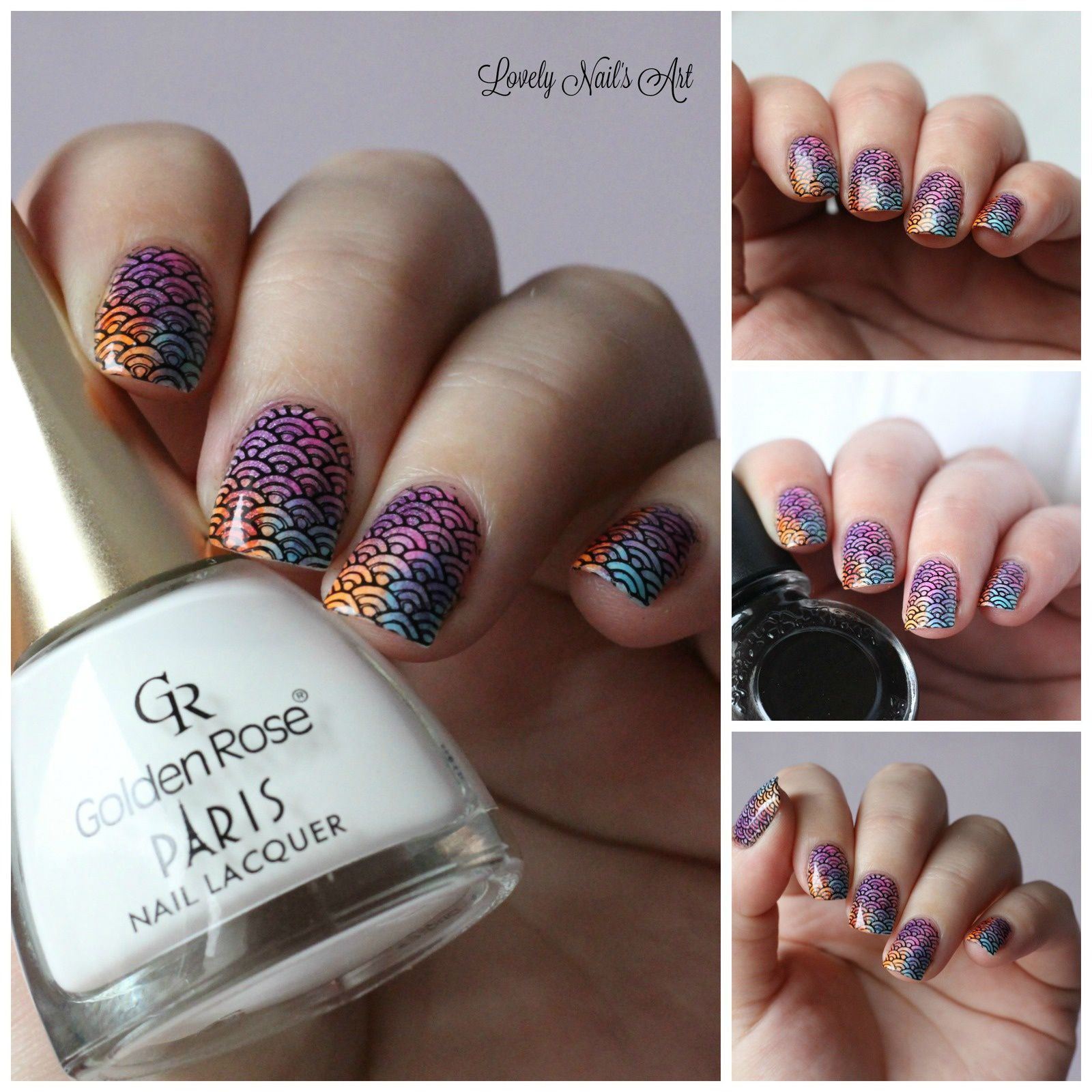 Nail art stamping multicolor