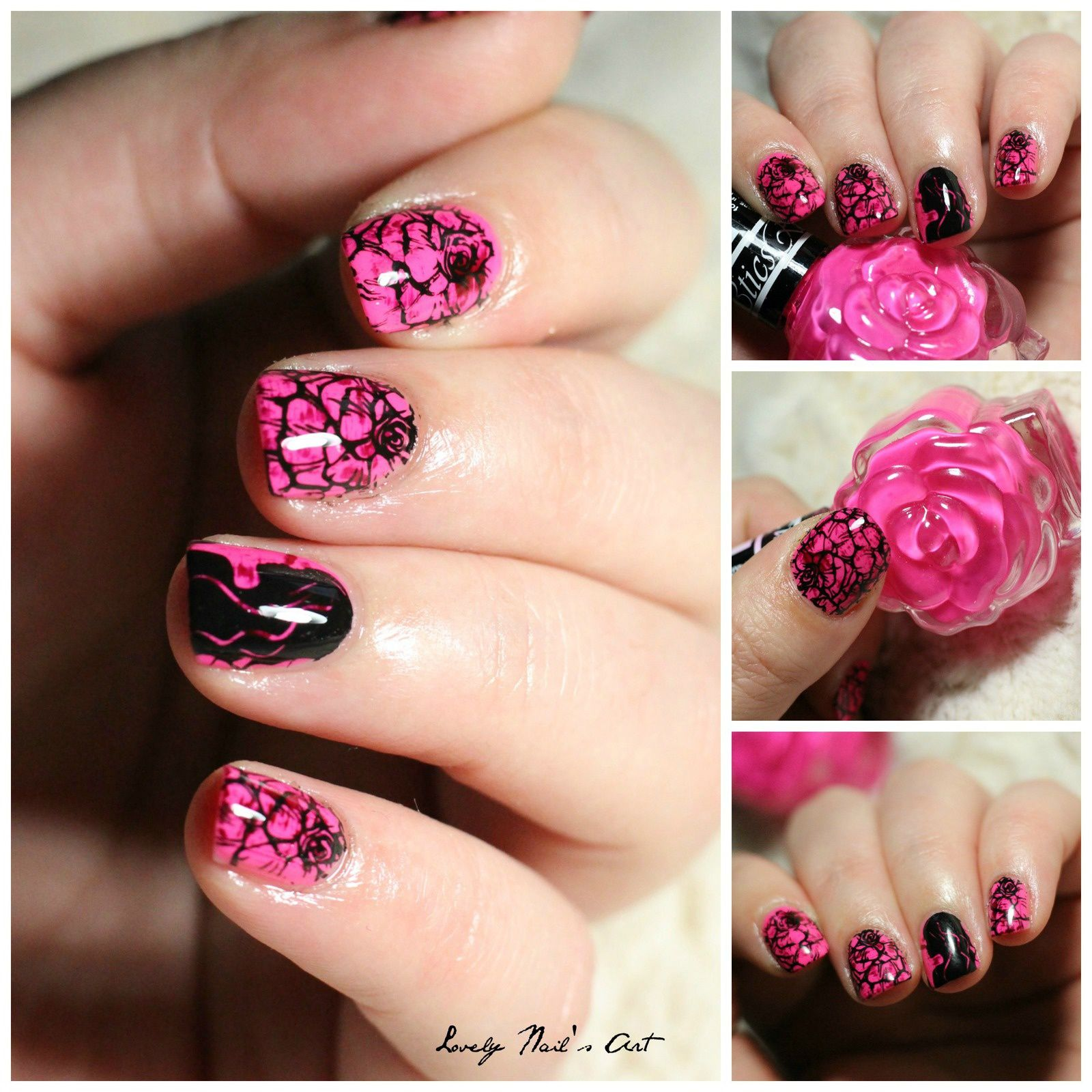 Nail art stamping romantique