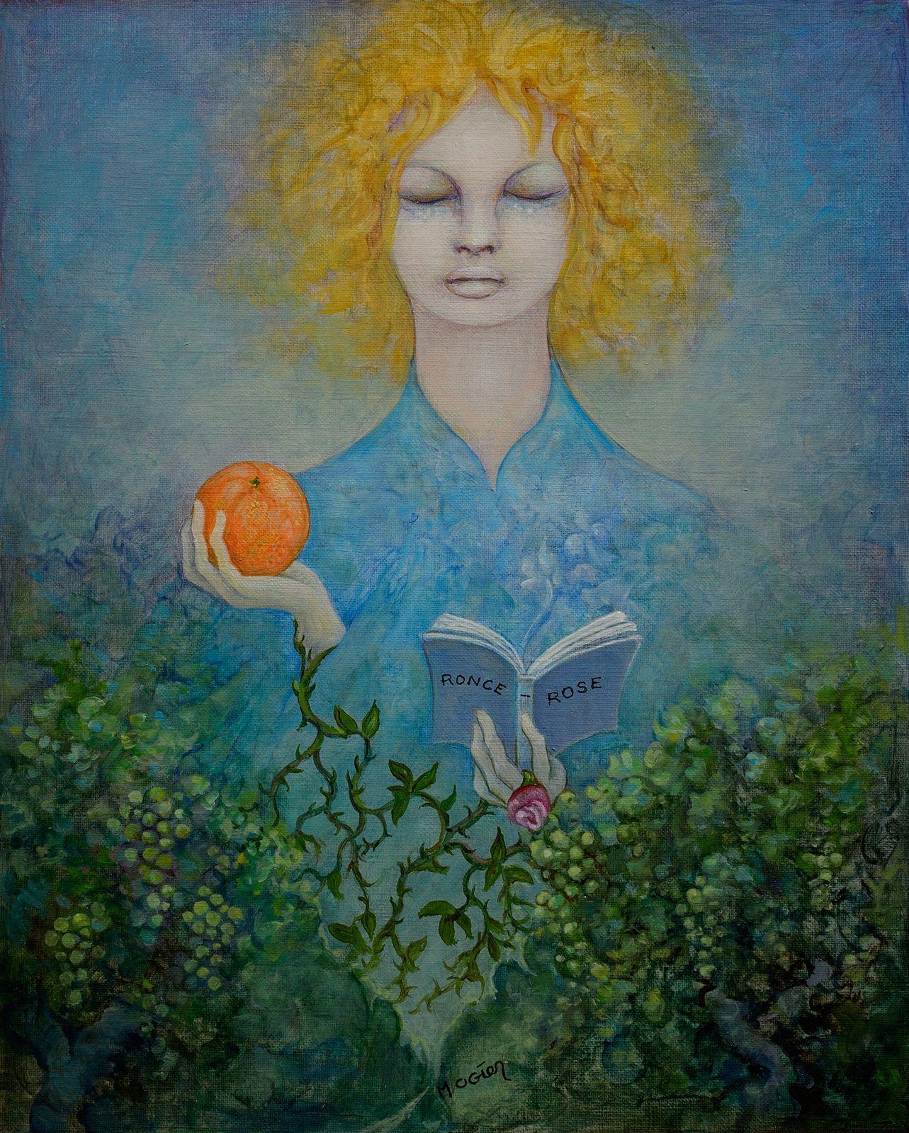 « La fillette à l'orange », huile sur papier toilé, 27x33cm, Michel Ogier, Atelier de la Conque