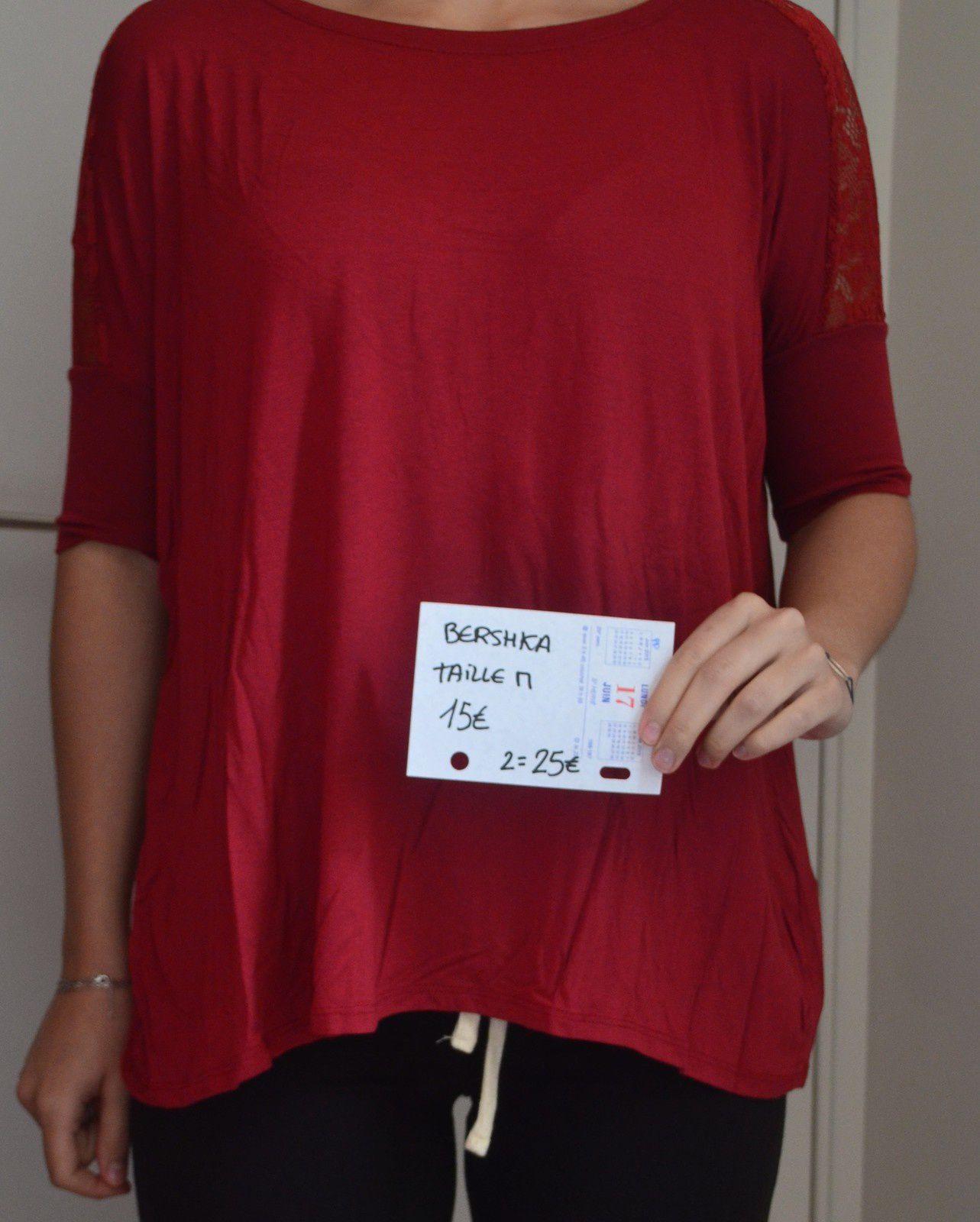 T-Shirt ample, dentelle Zipé Bershka / Corail & Bordeaux Taille M / 1= 15€ 2= 25€