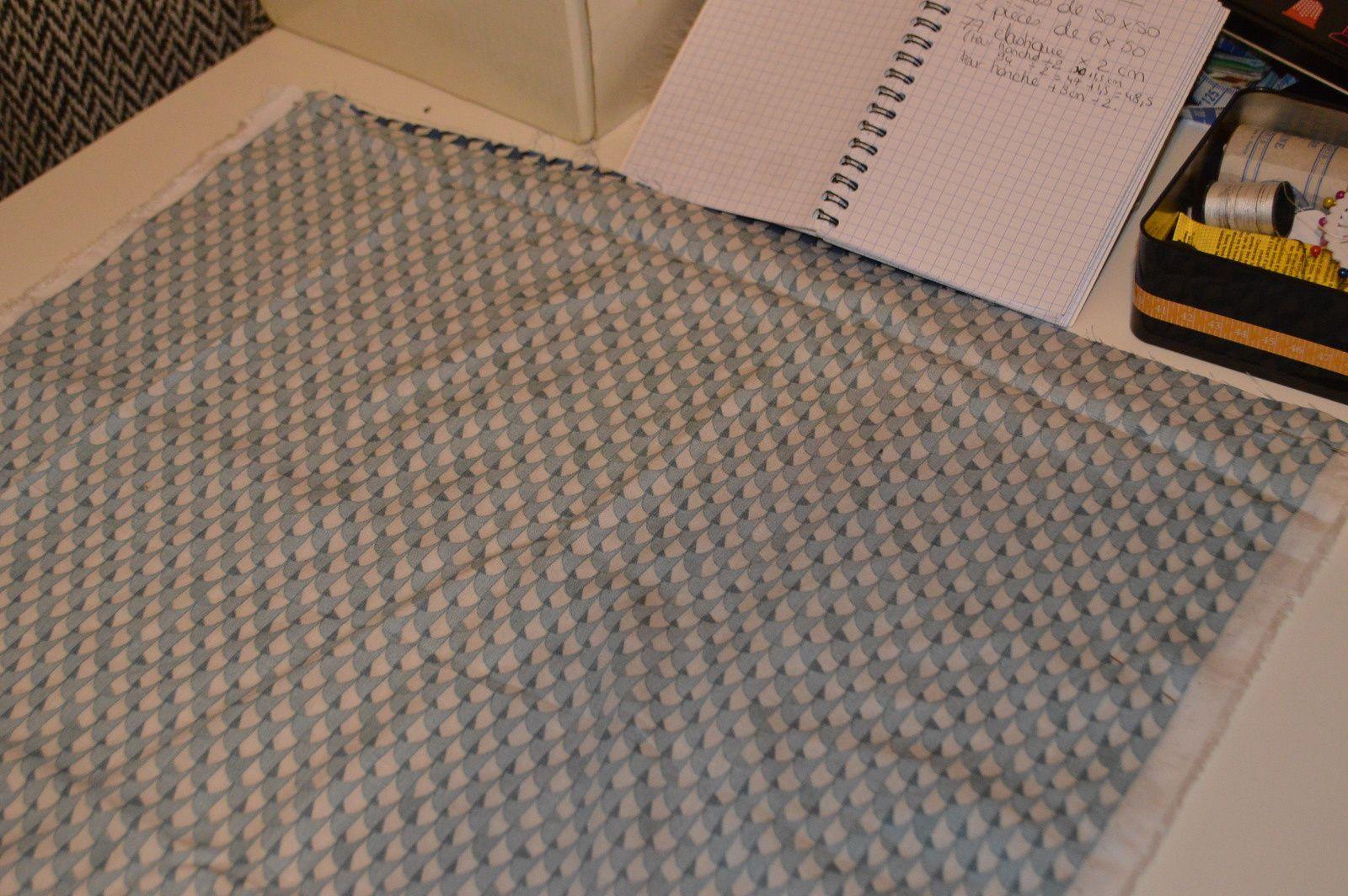 étape n°2 : tissus piqués de chaque côté
