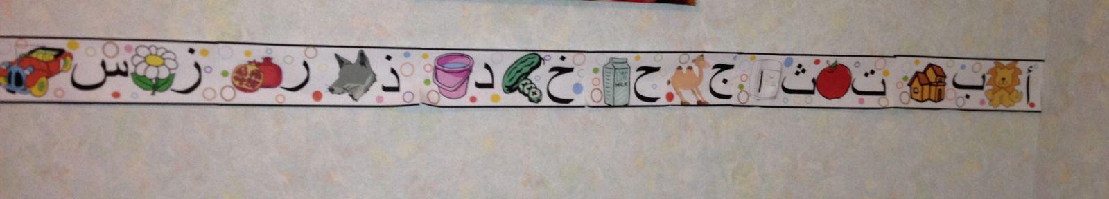 Alphabet arabe sous forme de fresque dans la chambre de Nour (2013)