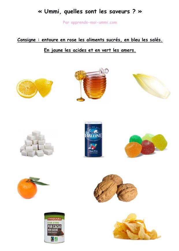 Fiche éducative par ummi : les saveurs