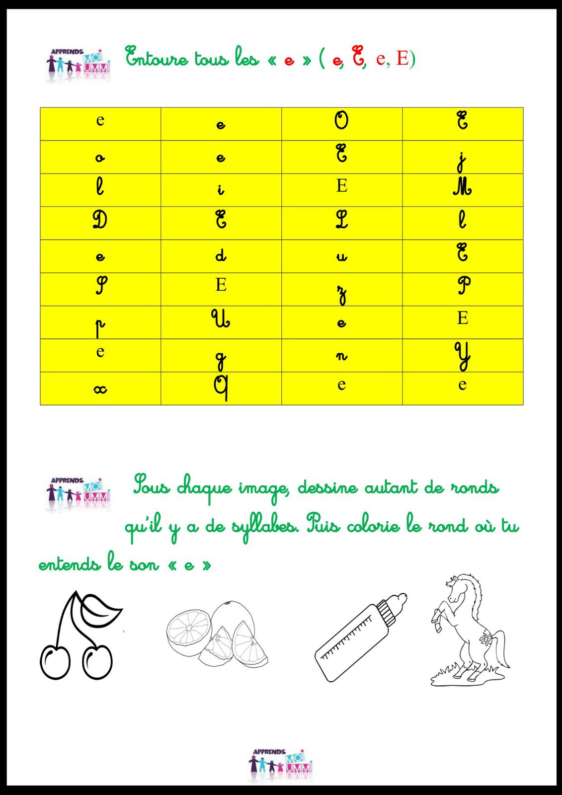 "Le son ""e"" : exercices"