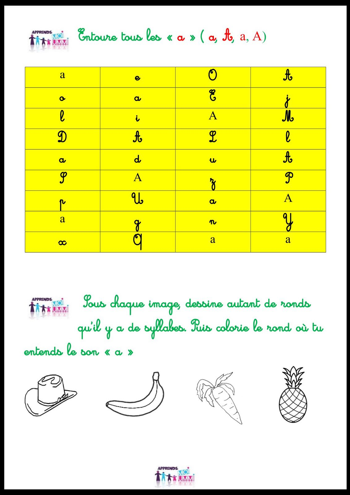 "Le son ""a"" : exercices"