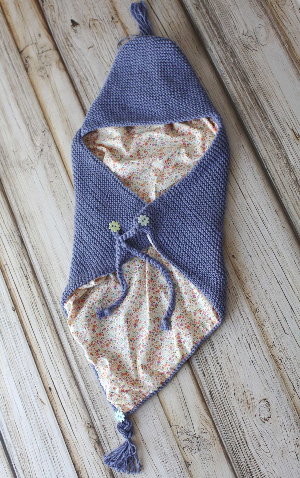 Blue organic cotton baby cocoon