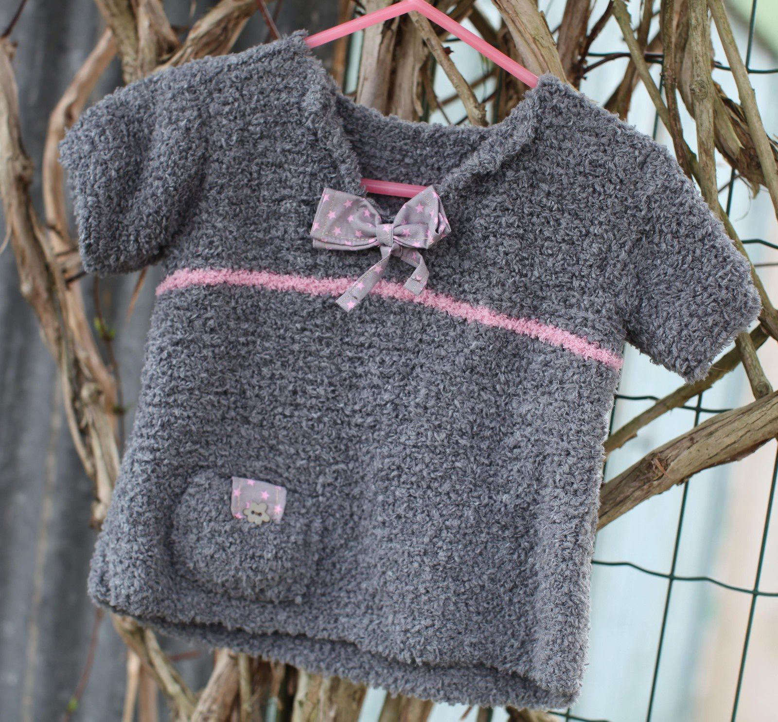 Grey handmade sweater for a 18 months toddler