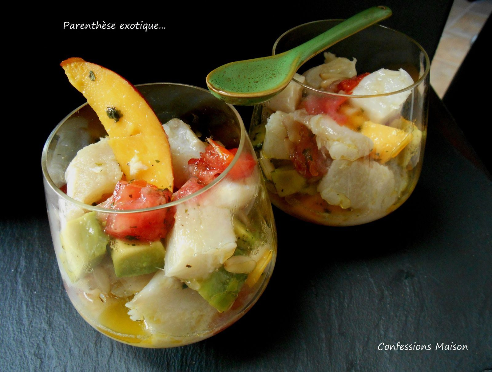 ceviche de cabillaud mangue avocat en verrine confessions maison. Black Bedroom Furniture Sets. Home Design Ideas