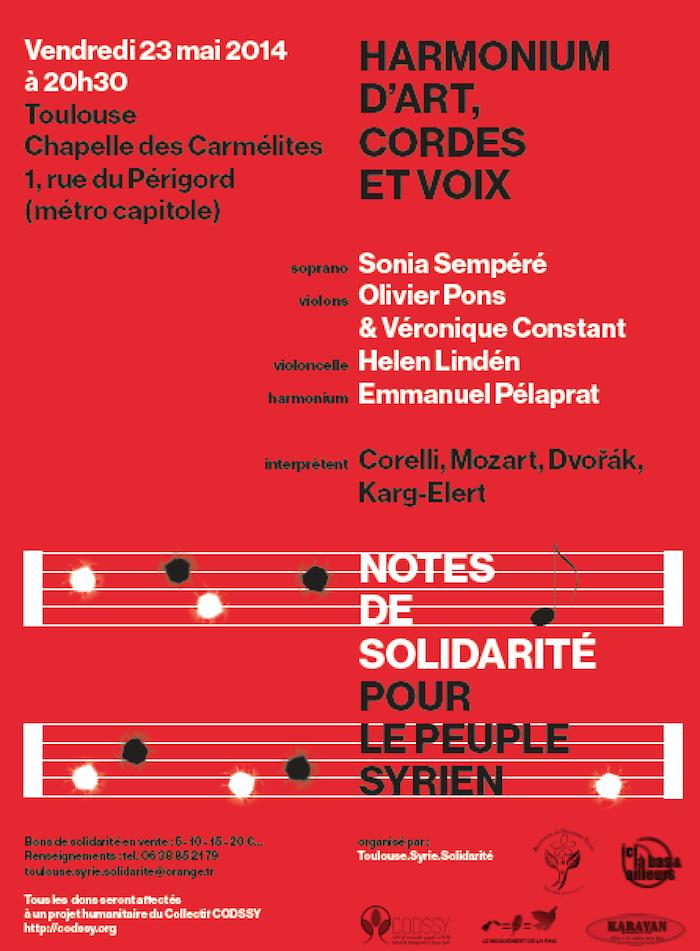 Peuple syrien : concert de solidarité vendredi 23 mai aux Carmélites