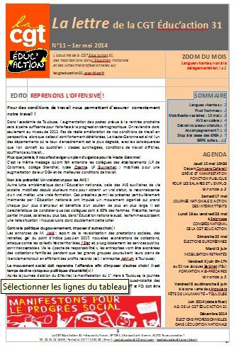 # La lettre n°11 de la CGT Educ'action 31