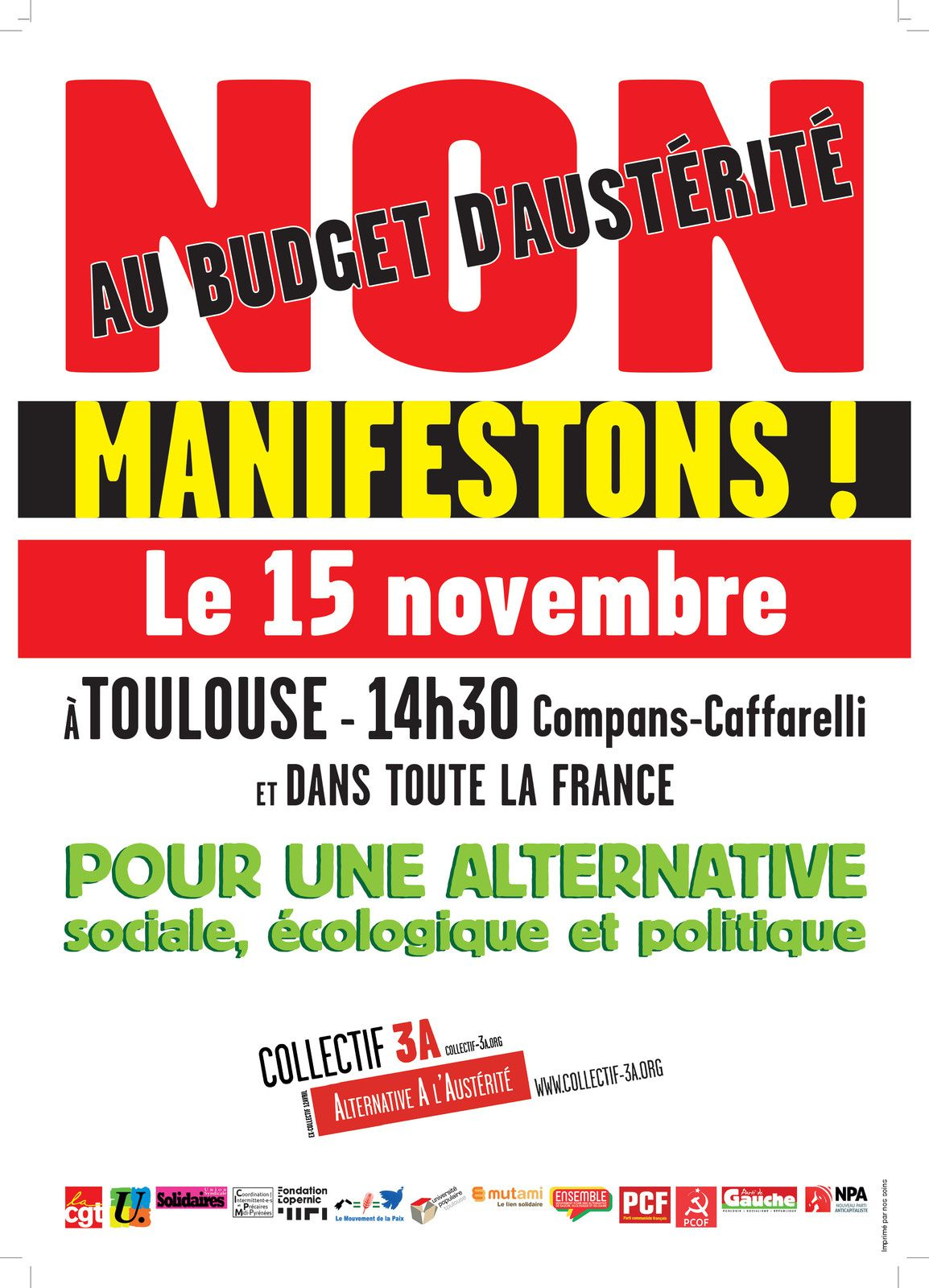 Collectif 3A Alternative À l'Austérité : mobilisation le 15 novembre
