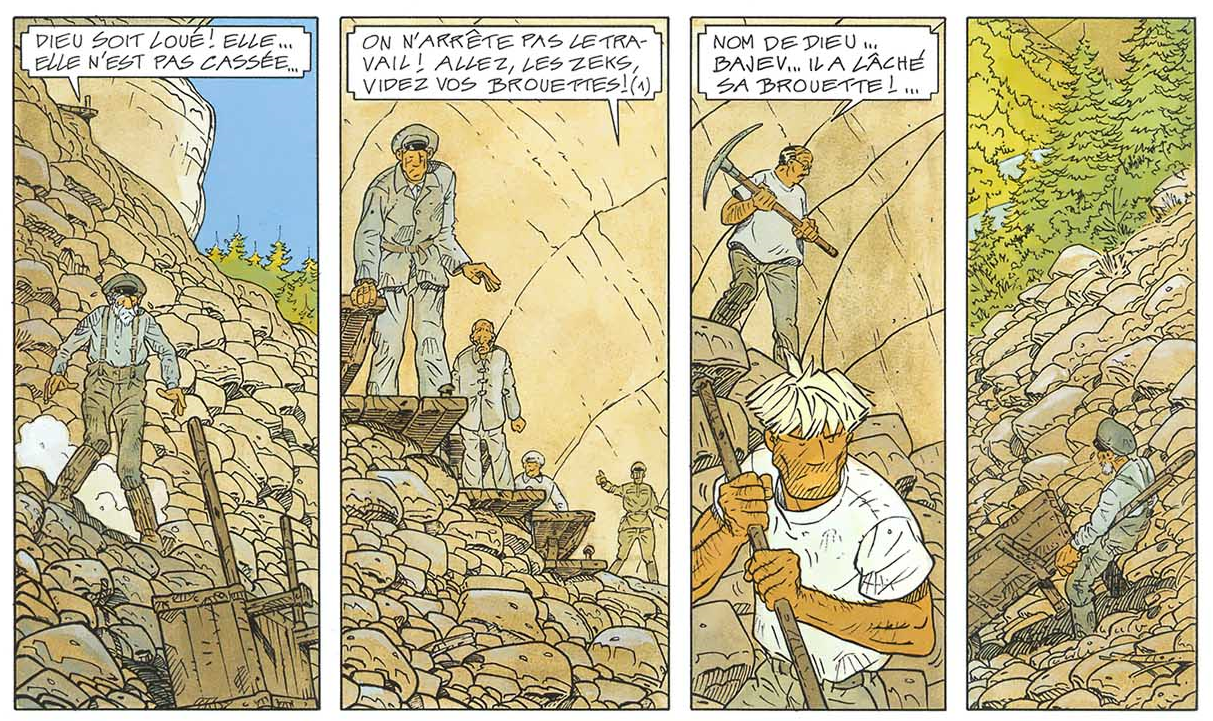 Strip extracted from The Goulag's 15th page, drawn & written by René Sterne and coloured by Chantal de Spiegeleer.