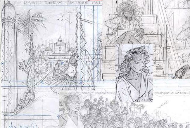 Sketches of Eclipse's first installment, published by ActuaBD in 2004.