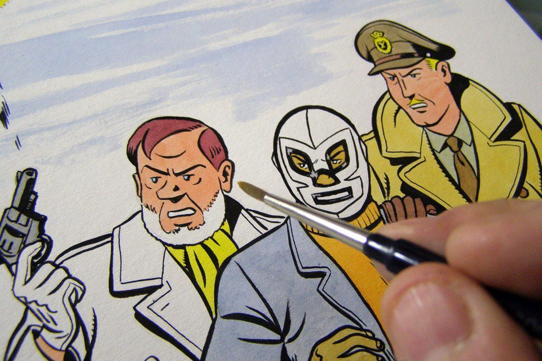 Blake, Mortimer and El Spectro, drawn together by Yves Rodier