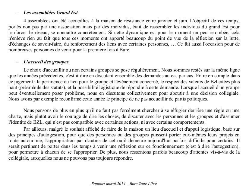 Rapports moral et d'activité et texte &quot&#x3B;Rôles et responsabilités de la collégiale&quot&#x3B;