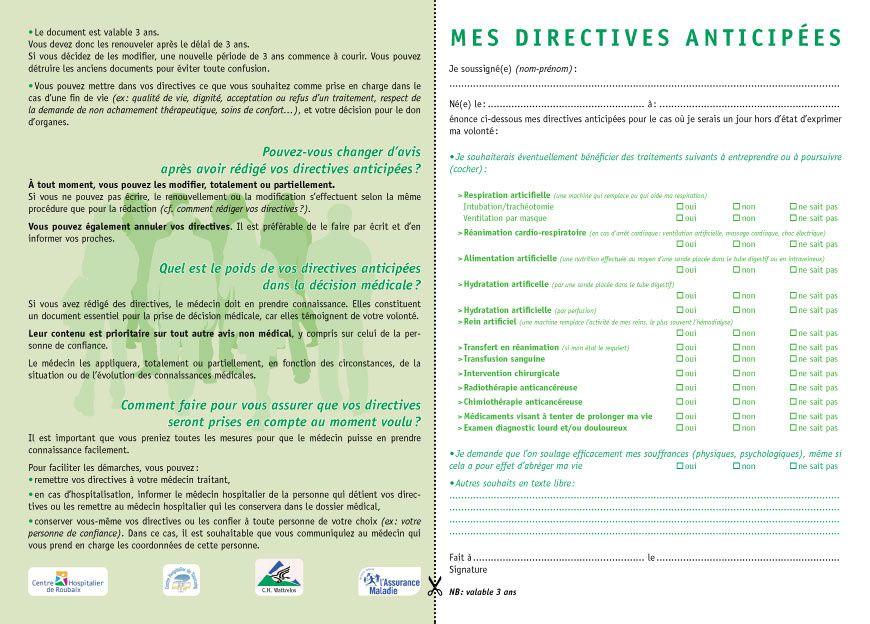 Modele de directives anticipees