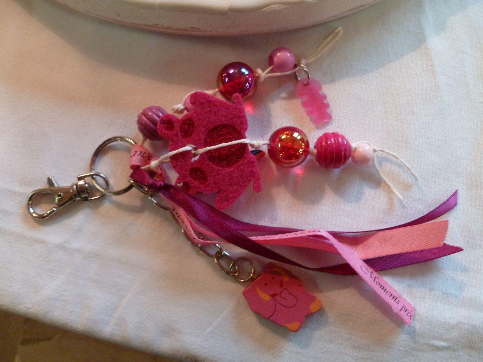 porte clé breloques avec grenouille et éléphant rose!...