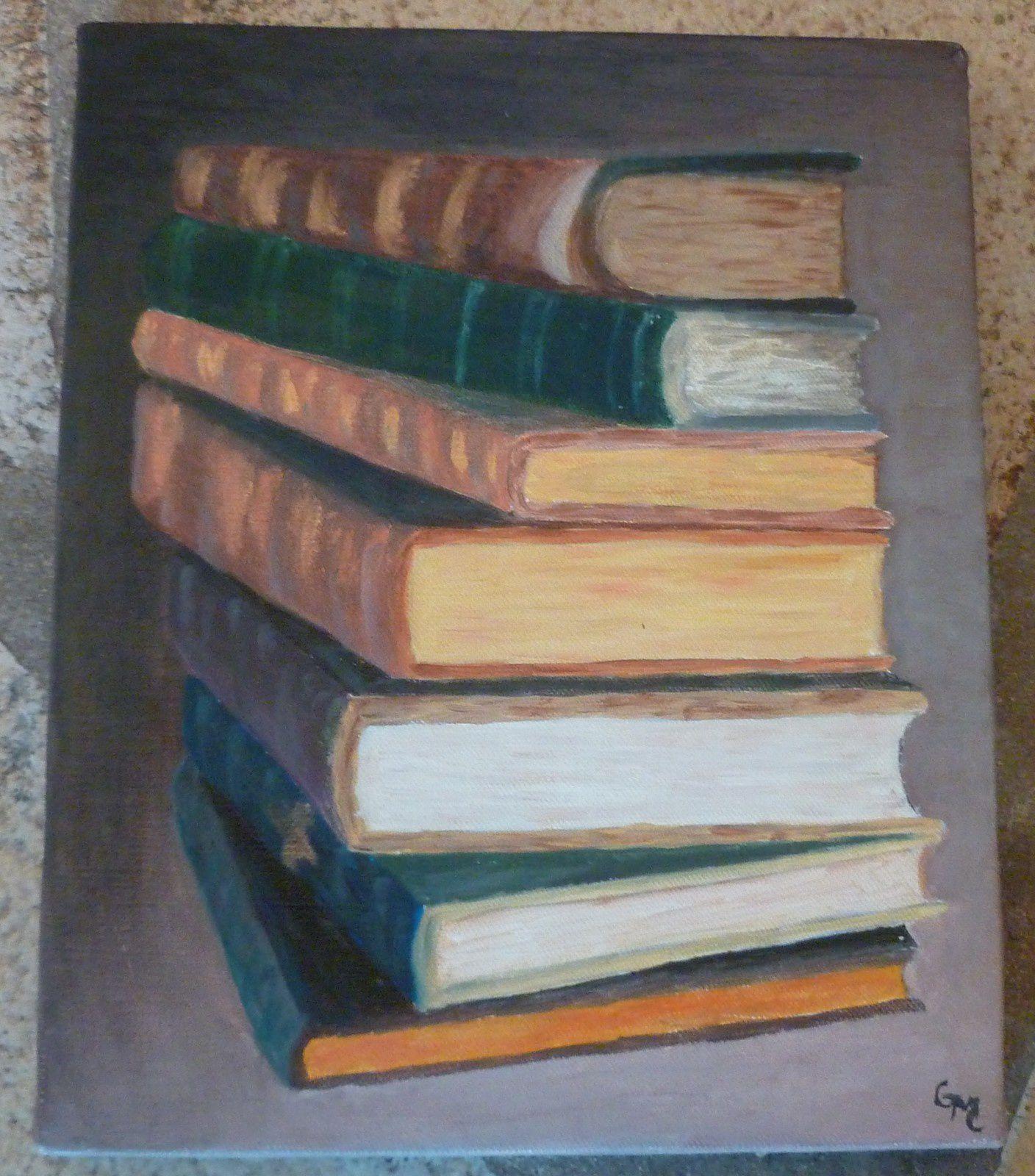Petit exercise sur toile avec des livres:premiére nature morte.