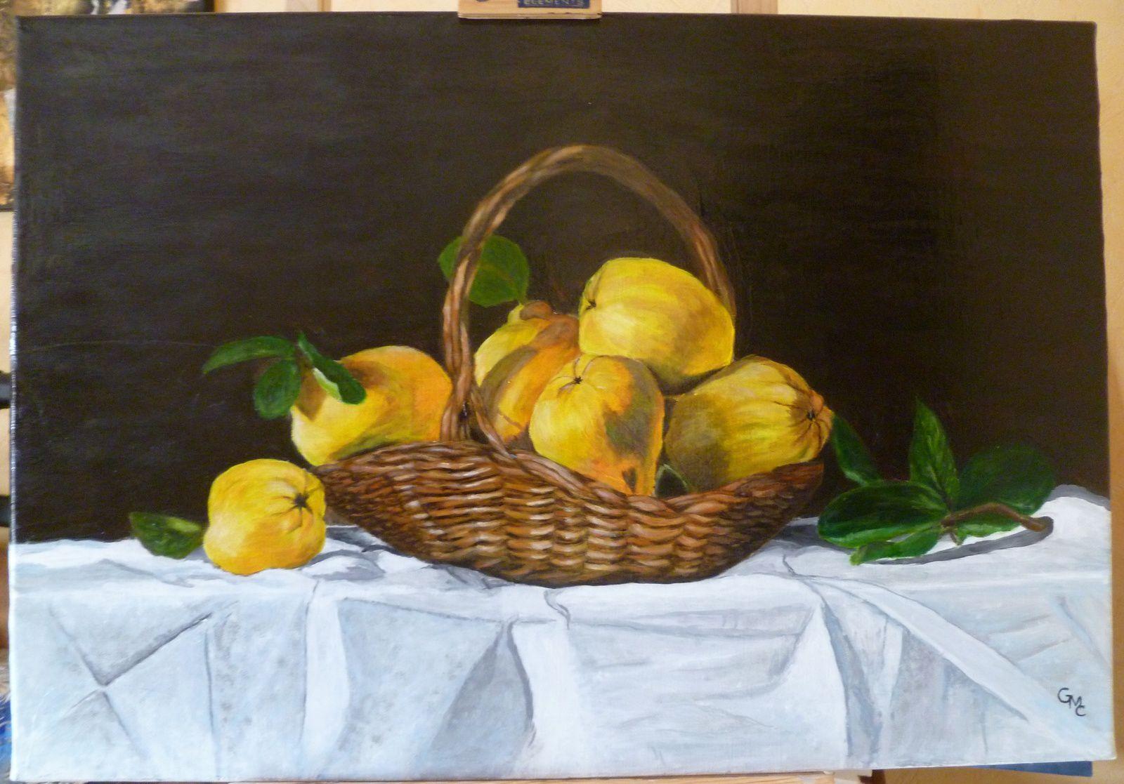 tableau nature morte réalisée avec le peintre Asan Saygin sur un de ses modéle :pannier de coings.merci à notre maitre.