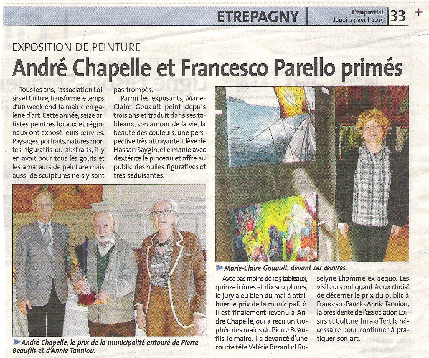 PREMIERE EXPOSITION DE PEINTURE A ETREPAGNY