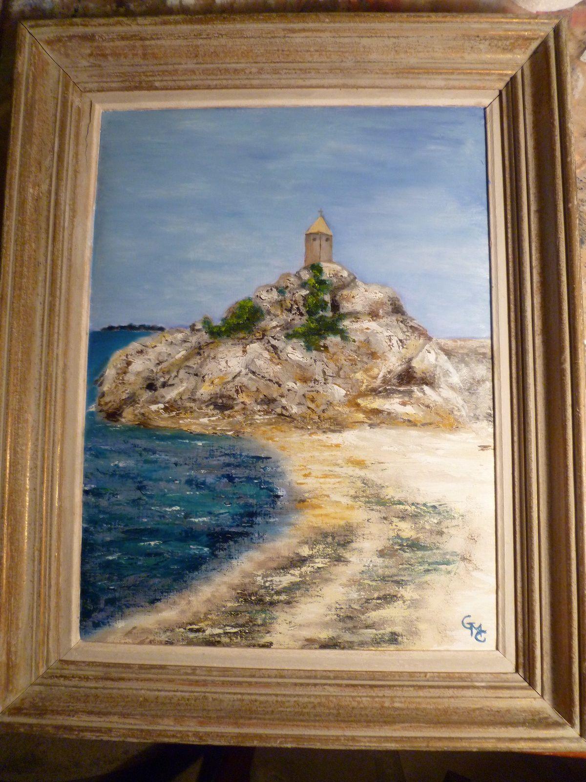 sujet imposé :bord de mer.peinture à l'huile.