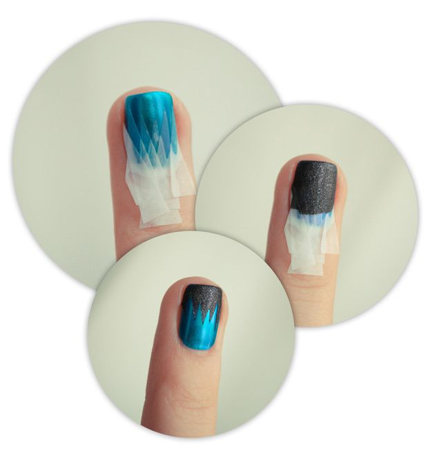 Easy Nail Art Using Tape: Nail Art Avec Du Scotch