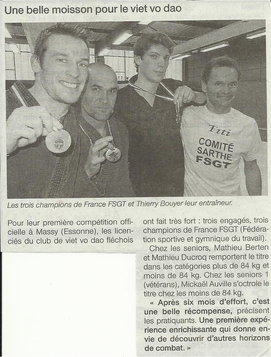 3 titres de champions de FRANCE FSGT pour le VIET VO DAO
