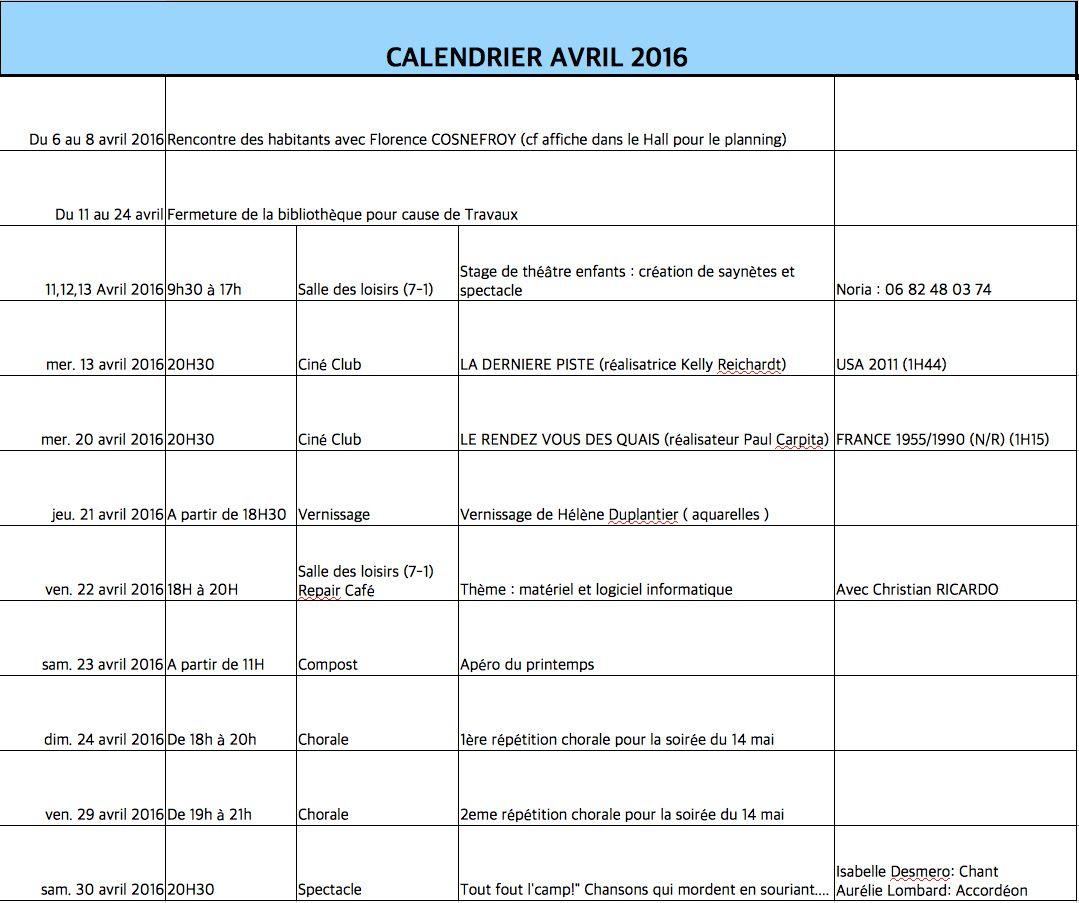 2016 calendrier avril