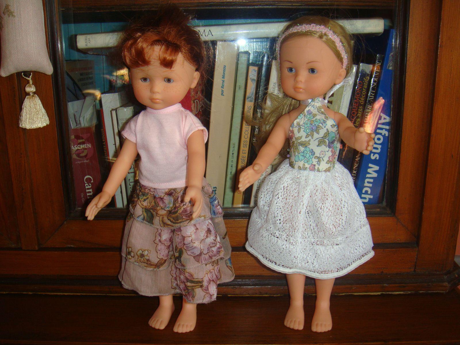 jupe abricot : un col année 80,jupe blanche: échantillon de rideau avec fil à plomb ds ourlet!
