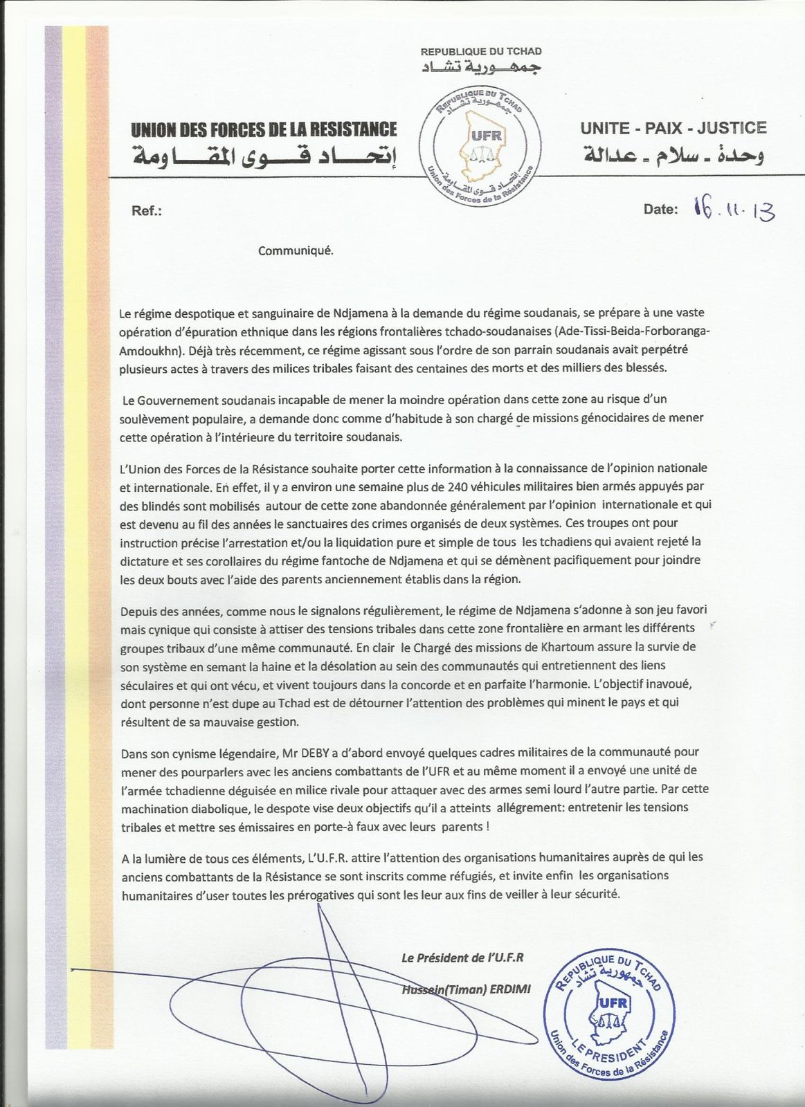Vers une épuration ethnique sauvage de Deby à l'est du Tchad: l'UFR alerte les agences humanitaires