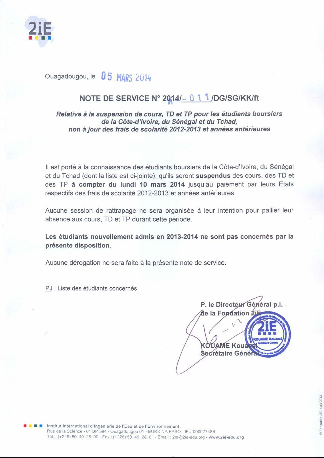 Des étudiants tchadiens suspendus de cours à Ouagadougou