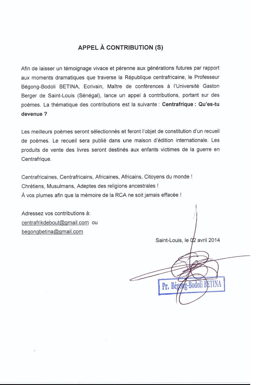 RCA: l'appel à contribution du Pr Betina à Dakar