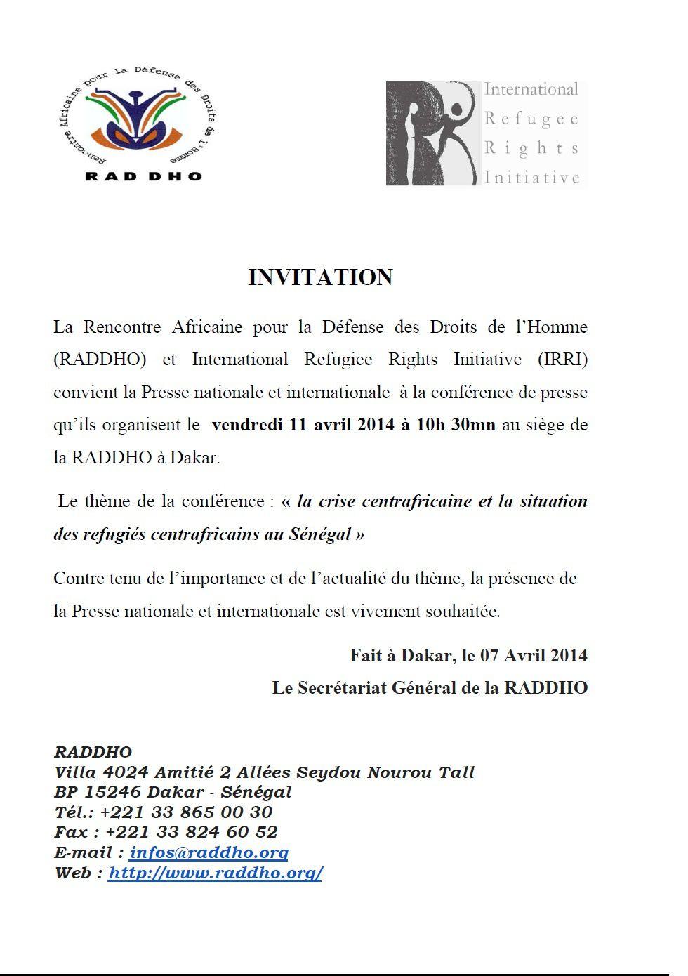 Dakar: la RADDHO et l'IRRI organisent un point de presse sur la RCA