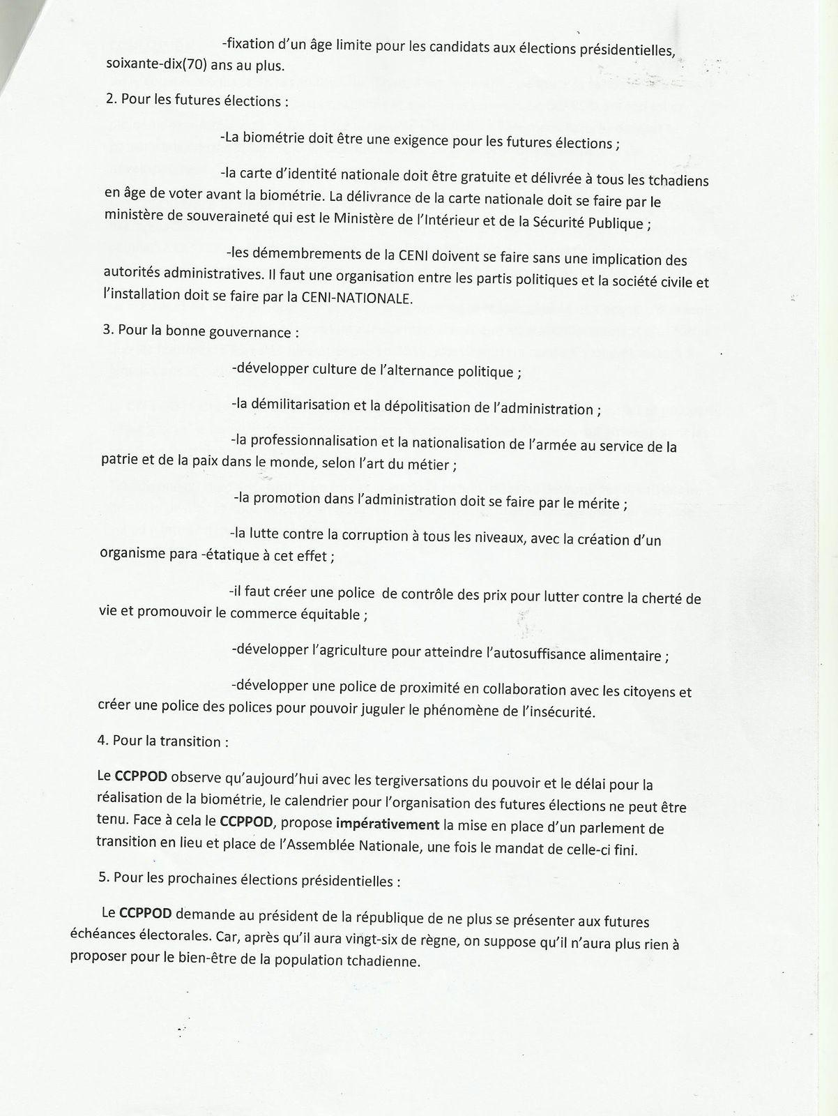 Tchad: le CCPPROD exige la mise en place d'un parlement de transition et la dissolution de l'Assemblée Nationale