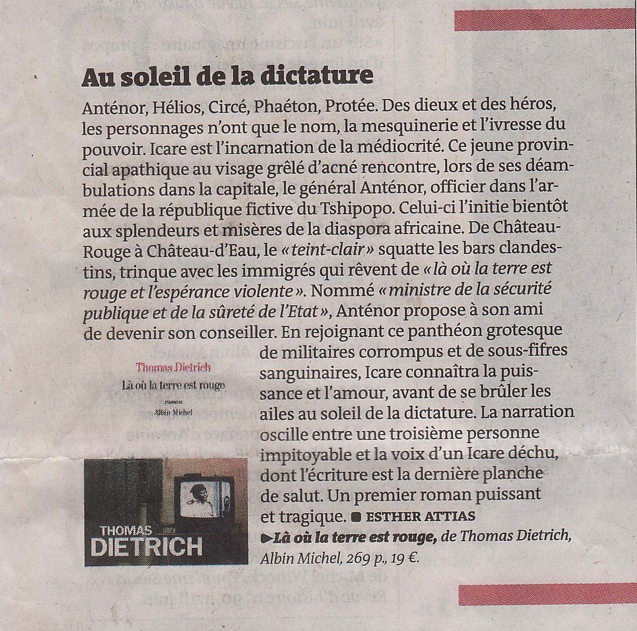 « Là où la terre est rouge » : nouvelle consécration de l'écrivain Thomas DIETRICH dans Le Monde