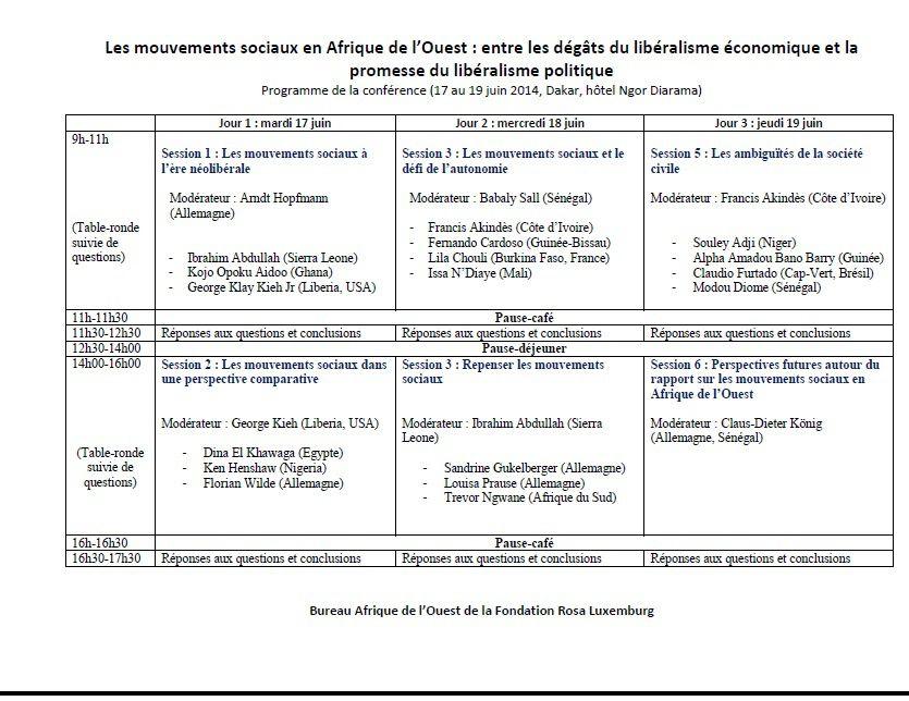 Dakar: importante conférence sur les mouvements sociaux en Afrique de l'Ouest