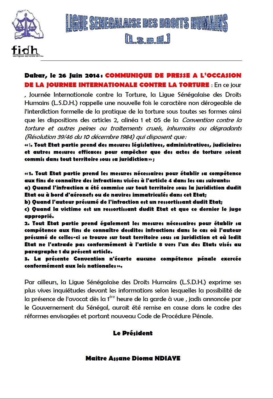 COMMUNIQUE DE PRESSE A LA LSDH SUR  LA JOURNEE INTERNATIONALE CONTRE LA TORTURE