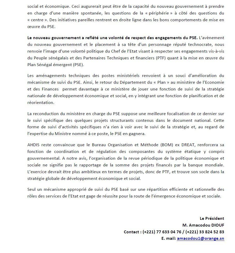 Sénégal:  l'ONG-AHDIS fait des propositions au Président Macky Sall