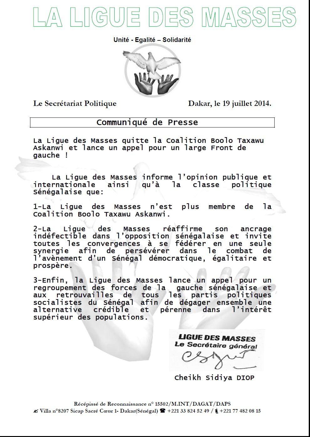 Dakar: communiqué de presse de la Ligue des Masses